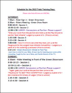 Trials Training Days 2015 Schedule