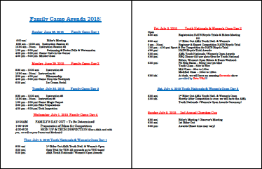 TTC Family Camp Agenda - 2015